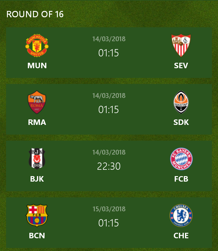 Champions League 4 Matchday Round Season 2018 2019: UEFA Champions League Round Of 16 Preview