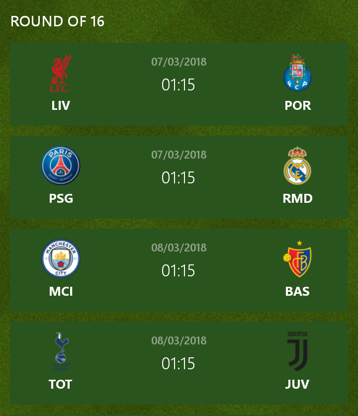Uefa Champions League Round Of: UEFA Champions League Round Of 16 Preview