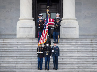 Military honor guard for George HW Bush's coffin