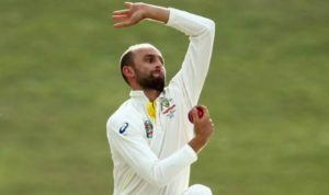Nathan Lyon spun one in to narrowly miss Kohli's off stump