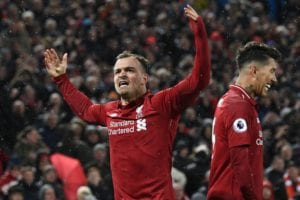 Xherdan Shaqiri scored twice in Liverpool's 3-1 win against Manchester United