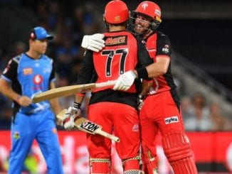 Dan Christian and Mohammad Nabi celebrating their victory over Adelaide Strikers
