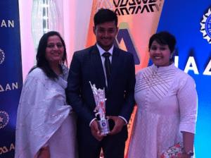Priyank Panchal felicitated at the BCCI Awards