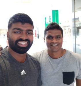 Srimantha Wijeyeratne with cousin Cham