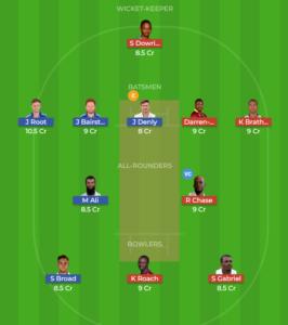 West Indies vs England 3rd Test Fantasy team