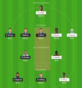 Windies vs England 2nd ODI fantasy team