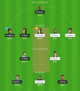 Afghanistan vs Ireland only Test fantasy team
