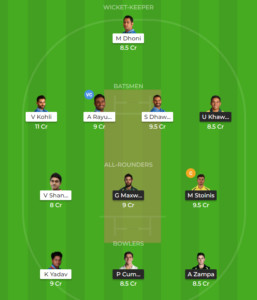 India vs Australia 3rd ODI Fantasy team