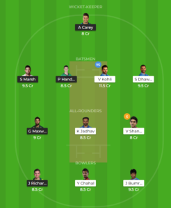 India vs Australia 5th ODI fantasy team