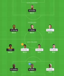 PSG vs Manchester United UCL Round of 16 fantasy team