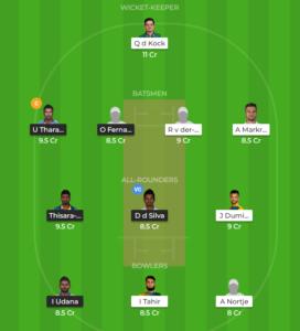 South Africa vs Sri Lanka 5th ODI fantasy team