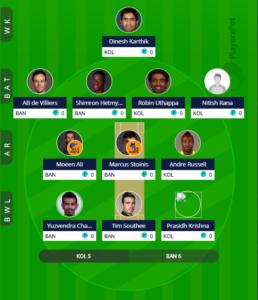 IPL 2019 Match 17 - RCB vs KKR Fantasy Team