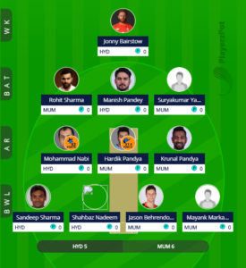 IPL 2019 Match 19 - SRH vs MI fantasy team