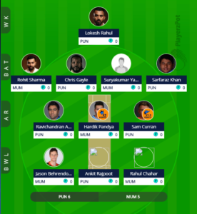 IPL 2019 Match 24 - MI vs KXIP fantasy team