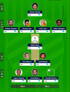 IPL 2019 Match 26 - KKR vs DC Fantasy team