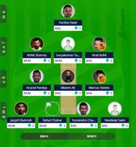 IPL 2019 Match 31 - MI vs RCB Fantasy Team