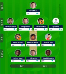 Zimbabwe vs UAE 4th ODI Fantasy Team