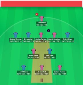 IPL 2019 Match 53 - DC vs RR Fantasy Team