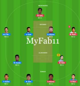 IPL 2019 Match 54 - RCB vs SRH Fantasy Team
