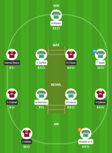 Ireland tri series 2019 - WI vs BAN Fantasy Team