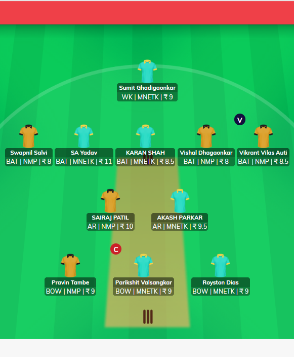 MPL 2019 Match 18 - TK vs NMP Fantasy Team