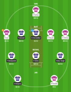 Mumbai T20 League - NBB vs AA Fantasy Team