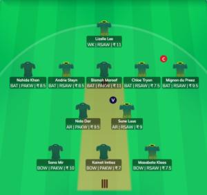 SA W vs PAK W - 1st ODI Fantasy Team