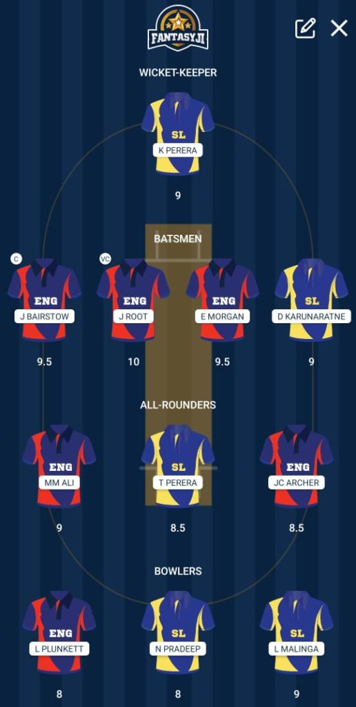 CWC 2019 Match 27 - ENG vs SL Fantasy Team