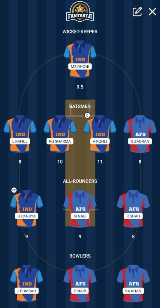 CWC 2019 Match 28 - IND vs AFG Fantasy Team