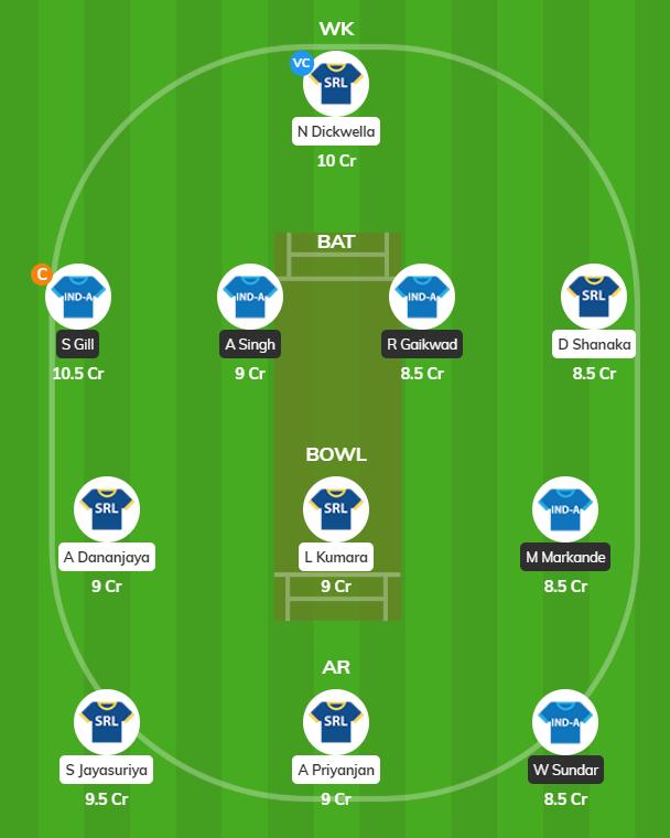 IND-A vs SL-A - 2nd ODI Fantasy Team
