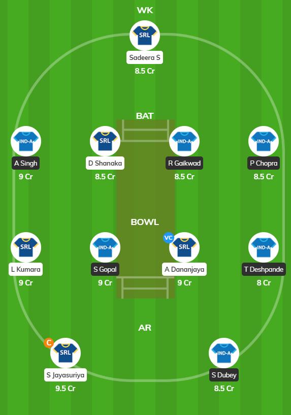 IND A vs SL A - 3rd ODI Fantasy Team