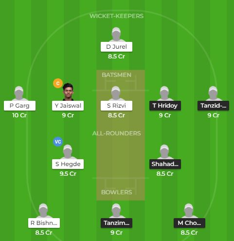 England tri series - BAN U19 vs IND U19 Fantasy Team