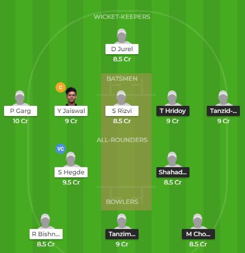 England tri series - BAN U19 vs IND U19 Fantasy Team
