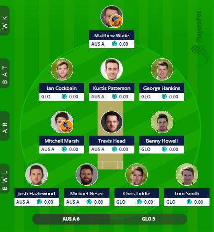 GLO vs AUS A - 5th ODI Fantasy Team