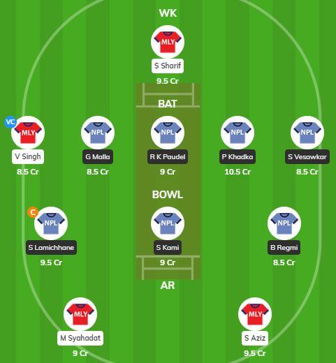 MAL vs NEP - 2nd T20 Fantasy Team