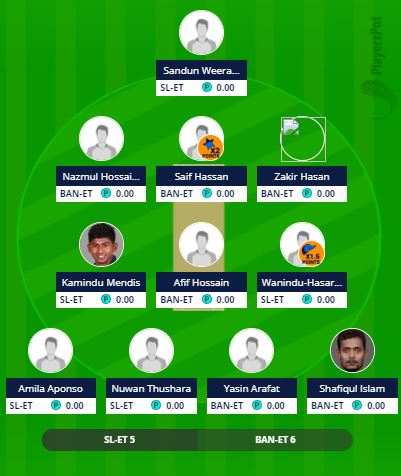 BAN-ET vs SL-ET - 1st ODI Fantasy Team