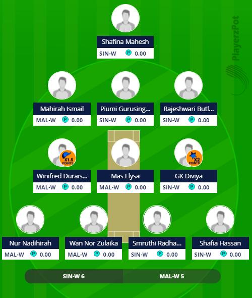 Saudari Cup 2019 - SIN-W vs MAL-W 3rd ODI Fantasy Team