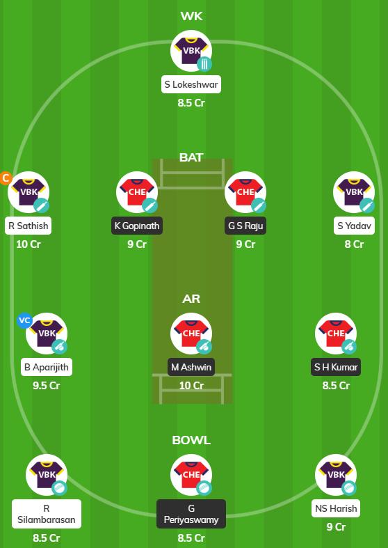 TNPL 2019 Match 19 - CHE vs VBK Fantasy Team