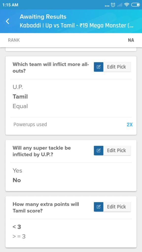 PKL 7 Match 29 - UP vs TAM Nostragamus Picks
