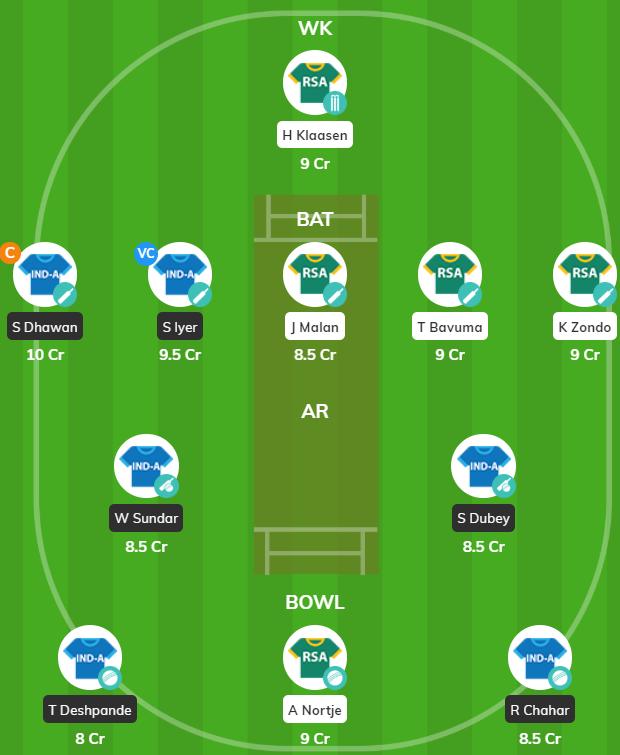 IND-A vs SA-A 2019 - 5th ODI Fantasy Team