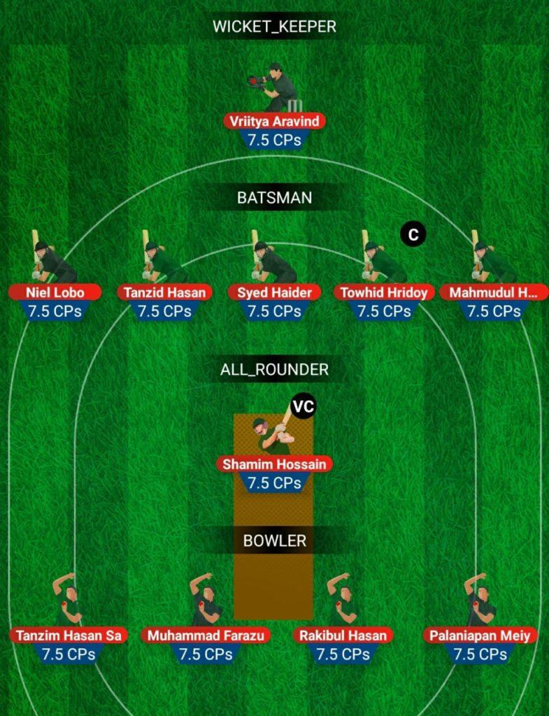 U19 Asia Cup 2019 - BAN U19 vs UAE U19 Fantasy Team