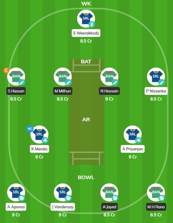 BN-A vs SL-A 2019 - 2nd ODI Fantasy Team