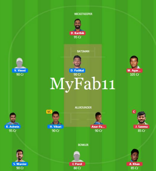 Deodhar Trophy 2019 Match 2 - IN-A vs IN-C Fantasy Team