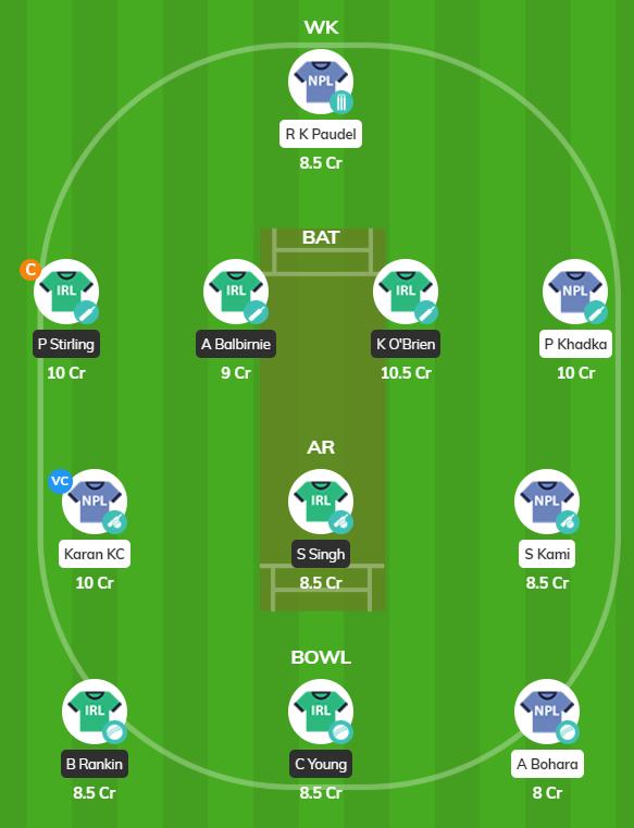 Oman T20 series 2019 Match 7 - IRE vs NEP Fantasy Team