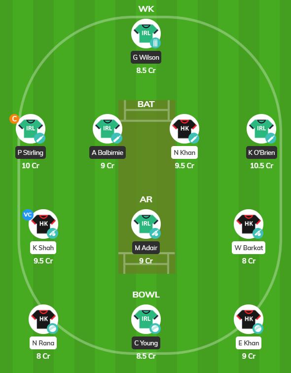 Oman pentangular series 2019 - IRE vs HK fantasy team