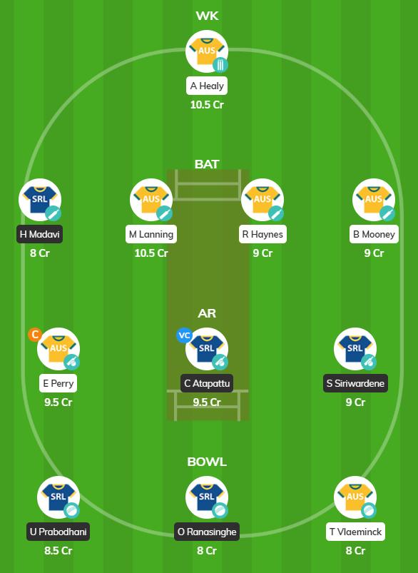 SL Women tour of AUS 2019 - 2nd ODI Fantasy Team