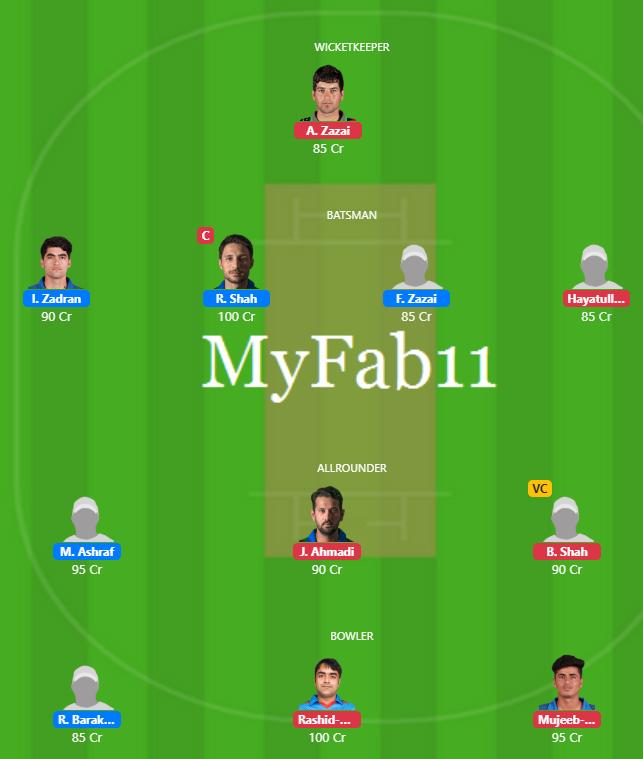 Shpageeza League 2019 Match 6 - AS vs BD Fantasy Team