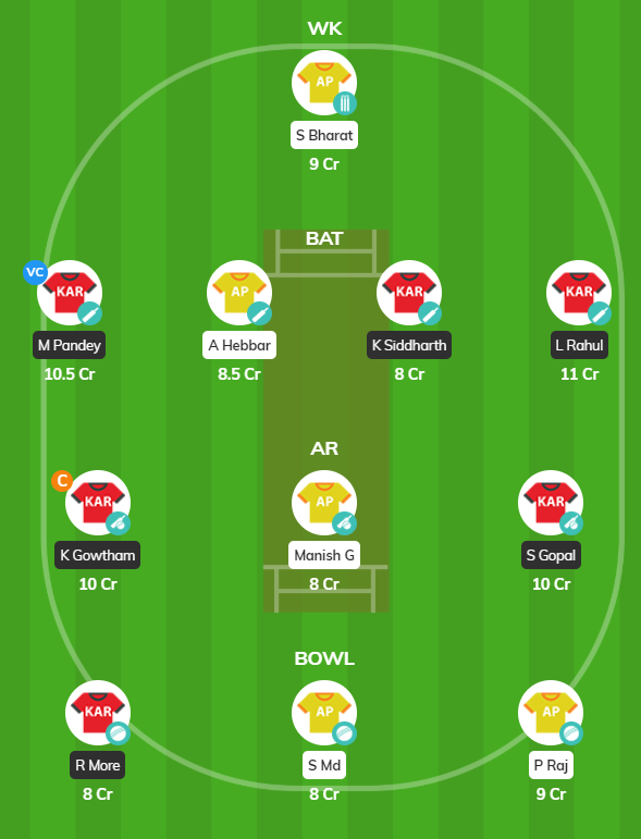Vijay Hazare Trophy 2019 - KAR vs AND Fantasy Team