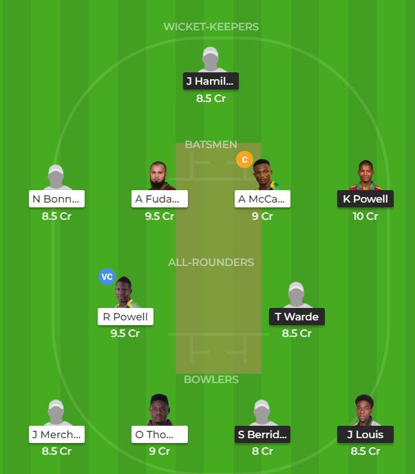 Super50 Cup 2019 - LEI vs JAM fantasy team