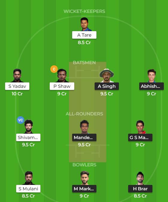 Syed Mushtaq Ali 2019 - PUN vs MUM Fantasy Team